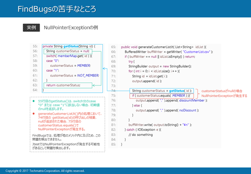 FindBugsでNullPointerExceptionが検出できない例