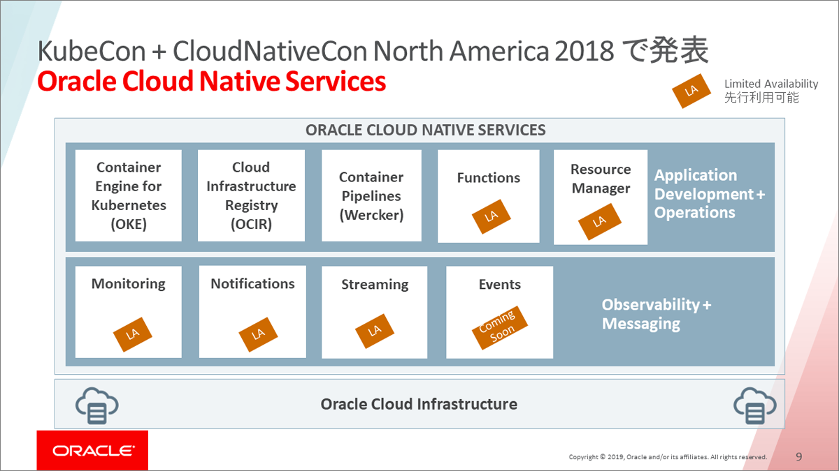 「KubeCon + CloudNativeCon North America 2018」で発表された、Oracle Cloud Native Services