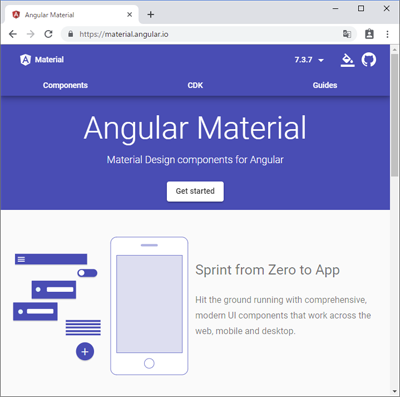 図1:Angular Materialの公式ページ(https://material.angular.io/)